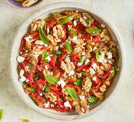 Smoky aubergine & red pepper salad