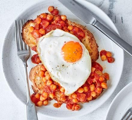 Smoky chickpeas on toast with fried egg