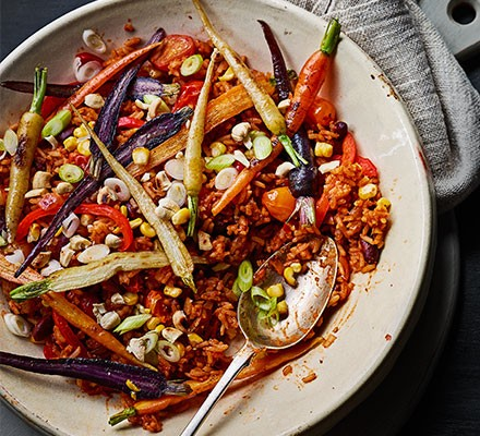 Smoky spiced veggie rice served on a plate