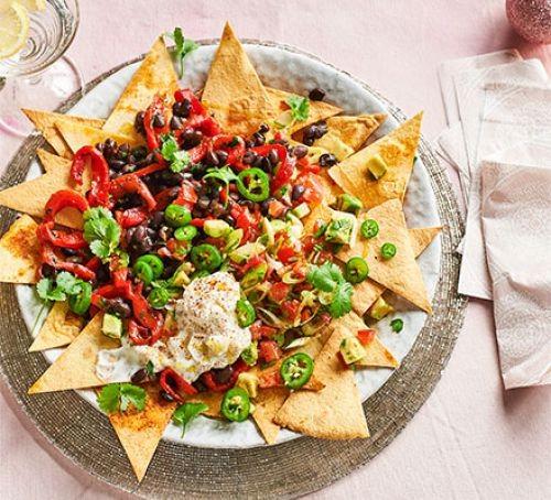 Veggie nachos on plate
