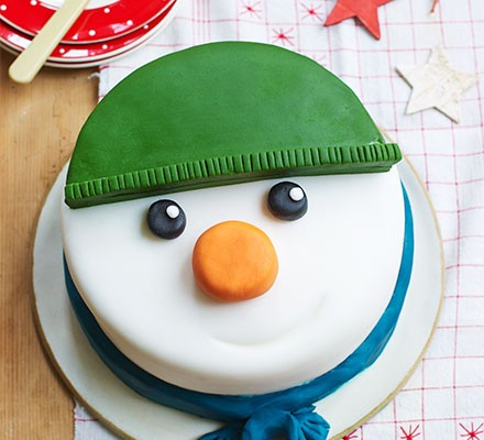 Snowman cake on a table