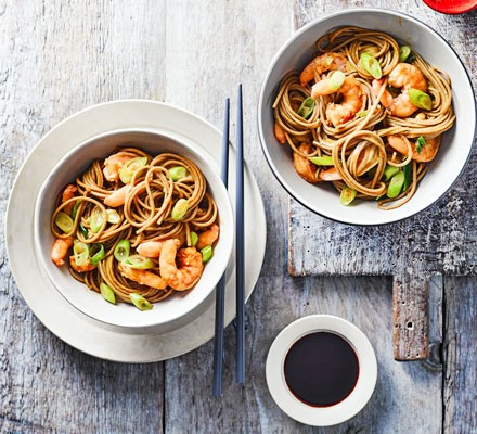 Soba noodles with wasabi garlic prawns 2016