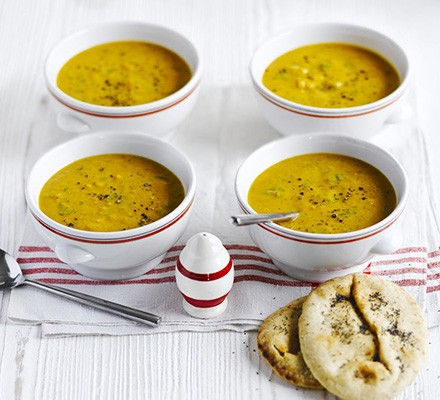 Indian roasted butternut squash soup with seeded naan