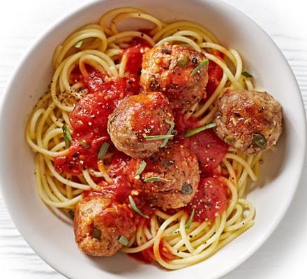 Spaghetti & tuna balls