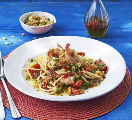 Spaghetti with chilli prawns, salami & gremolata breadcrumbs