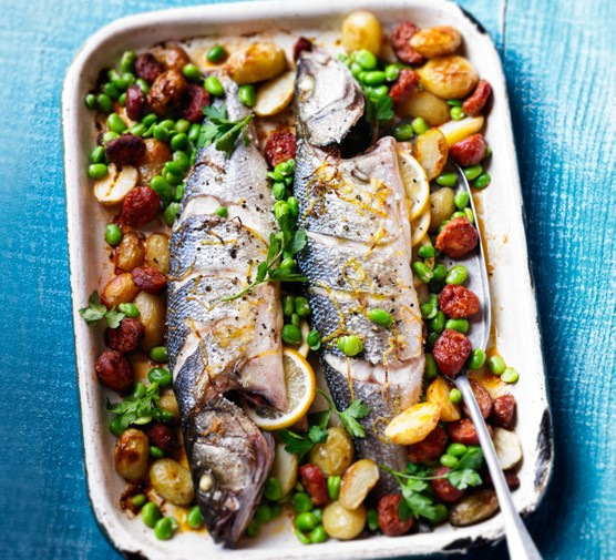 Spanish roast fish with broad beans & chorizo