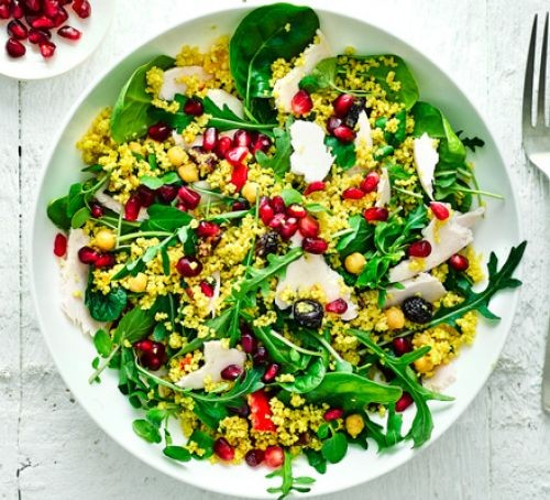 Bowl of turkey couscous salad
