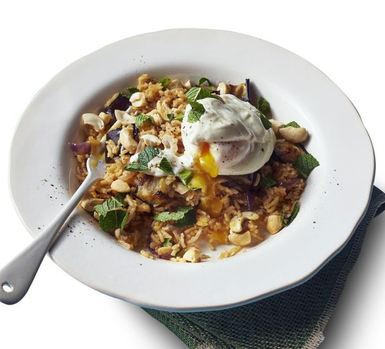 Spiced aubergine pilaf with poached eggs