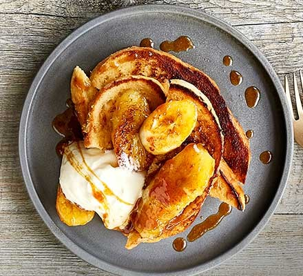 Spiced banana honey French toast served on a plate