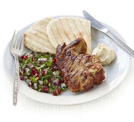 Spiced lamb chops & herb salad