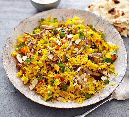 Spiced lamb pilaf recipe | BBC Good Food