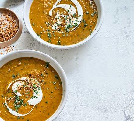 Spiced lentil & butternut squash soup served in bowls