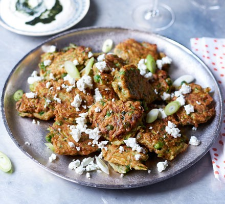 Spiced pea & courgette fritters with minty yogurt dip