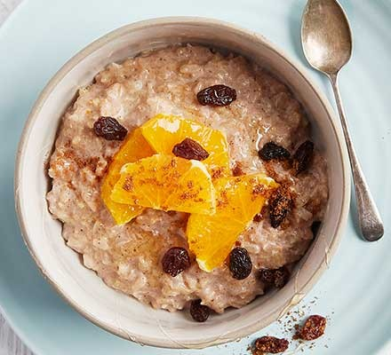 Healthy spiced rice pudding served in a bowl