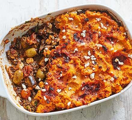 Spicy harissa aubergine pie served in a casserole dish