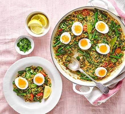Spicy 'vedgeree' served in a casserole dish