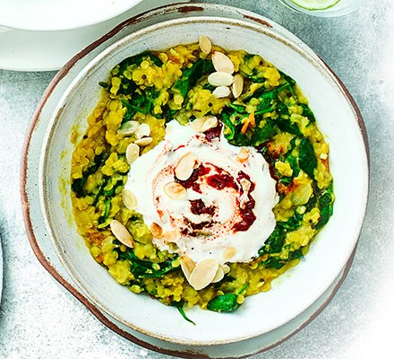 Spinach dhal with harissa yogurt served in a bowl