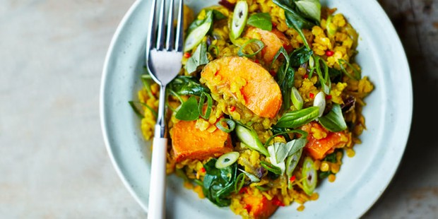 spinach sweet potato lentil dhal