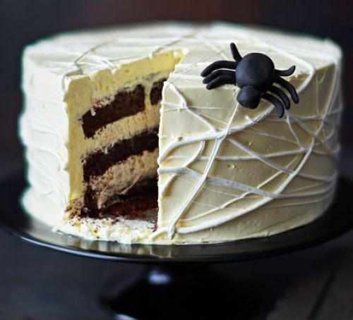 Spider cake with slice cut