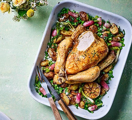 Spring one-pot roast chicken in a roasting tray
