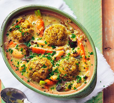 Slow Cooker Vegetable Stew With Cheddar Dumplings Recipe Bbc Good Food