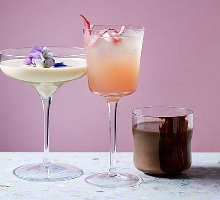 A rhubarb spritz cocktail