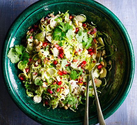 Sprout salad with citrus & pomegranate