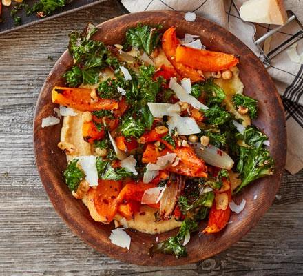 Soft polenta with roast squash, kale & hazelnuts
