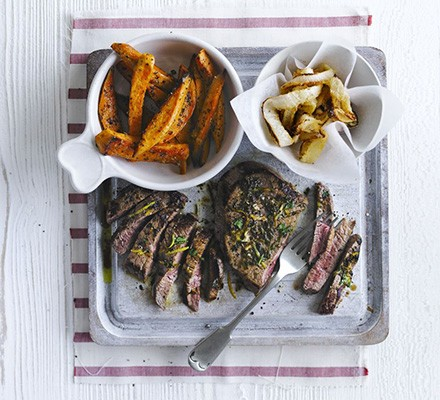 Chimichurri steaks with sweet potato fries & onion rings