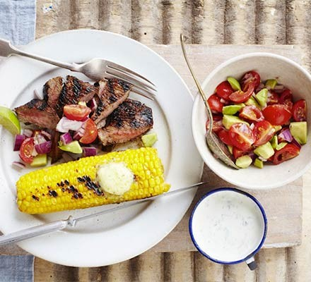 Chipotle bavette steak with lime corn and chunky salsa