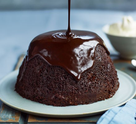 Steamed chocolate, stout & prune pudding