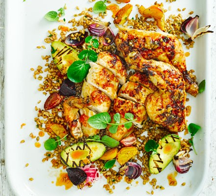 Sticky citrus chicken with griddled avocado & beet salad