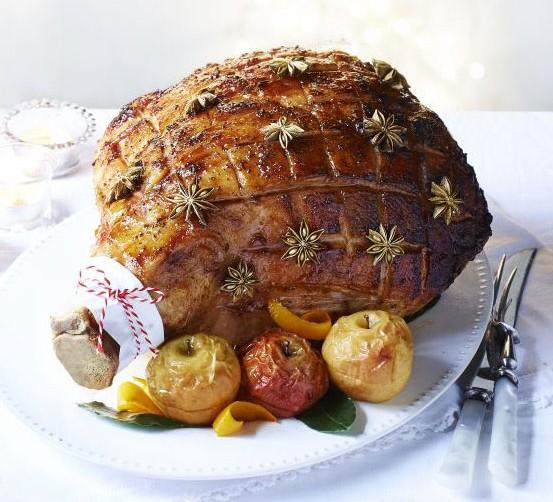 Sticky maple-glazed ham with baked apple sauce