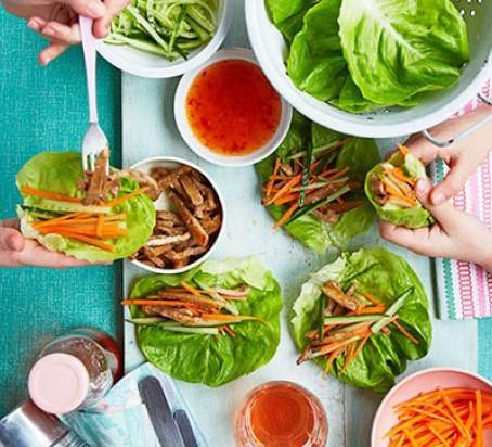 sticky pork lettuce wraps family summer lunch
