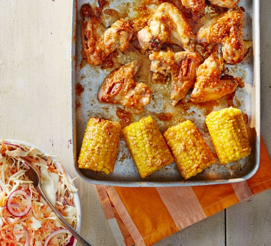 Sticky sesame chicken & corn with slaw