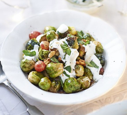 Sticky sprouts with grapes & walnuts