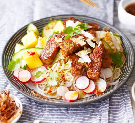 Sticky tempeh, mango & lime noodle salad