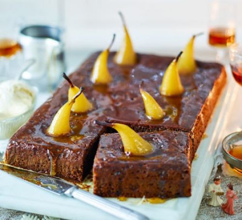 Sticky toffee traybake topped with pears