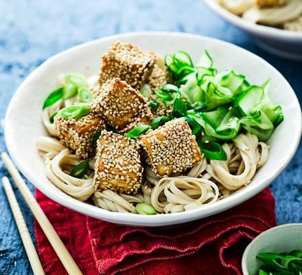 Sticky tofu with noodles