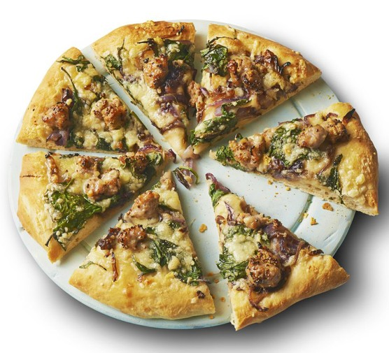 Sticky onion & sausage pizza