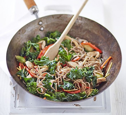 Chicken, kale & sprout stir-fry