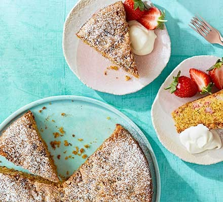 Strawberry & pistachio olive oil cake served in slices