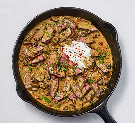 Next-level beef stroganoff served in a pan