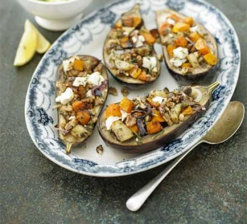 Stuffed aubergines with feta, pumpkin and courgettes