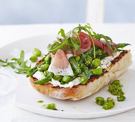 Summer beans on toast with prosciutto