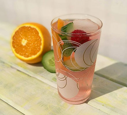 Summer cup mocktail in a tall glass