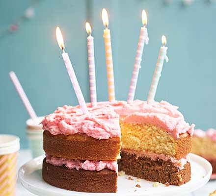 Birthday cake served with candles