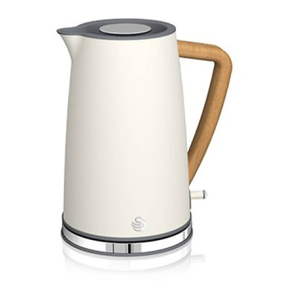 Swan Nordic Jug kettle in white with wood effect handle