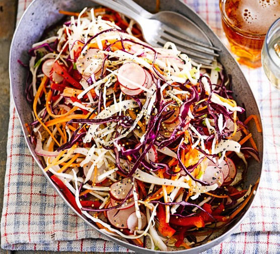 Sweet & sour rainbow slaw