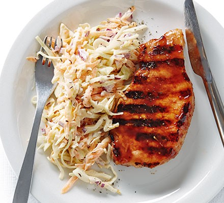 Sweet balsamic pork with caraway slaw